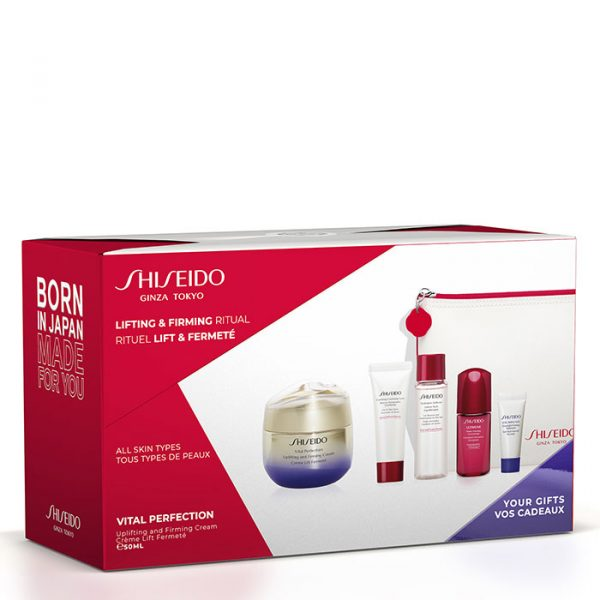 Shiseido Vital Perfection Uplifting and Firming Cream Gift Set Clarifying Cleansing Foam + Treatment Softener + Ultimune Power Infusing Concentrate + Vital Perfection Overnight Firming Treatment + Dressing Case