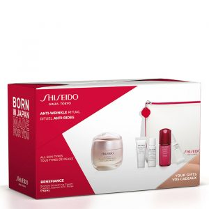 Shiseido Benefiance Wrinkle Smoothing Cream Gift Set Clarifying Cleansing Foam + Treatment Softener + Ultimune Power Infusing Concentrate + Ultimune Power Infusing Concentrate
