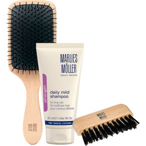 Marlies Moller Set Strength Daily Mild Shampoo + Cleaning Brushs + Cleaner Comb
